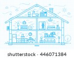 house silhouette with rooms... | Shutterstock .eps vector #446071384