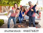 group of young attractive...   Shutterstock . vector #446076829