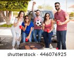 group of young hispanic friends ...   Shutterstock . vector #446076925