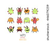 colorful toy cute monster | Shutterstock .eps vector #446079259