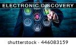 investigator pushing electronic ... | Shutterstock . vector #446083159