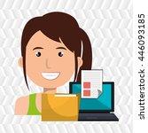 computer user filing documents... | Shutterstock .eps vector #446093185