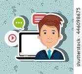 social networking user laptop...   Shutterstock .eps vector #446098675