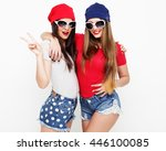 two young girl friends standing ... | Shutterstock . vector #446100085