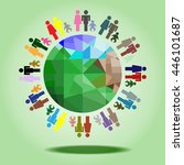 the population of the world ... | Shutterstock .eps vector #446101687
