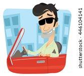 cartoon rich man driving sports ... | Shutterstock .eps vector #446104141