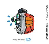 vintage video camera drawing on ... | Shutterstock .eps vector #446107921