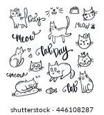 Set Of Cute Cat. Pet Animal...
