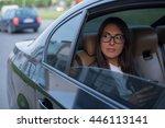 beautiful businesswoman in car.   Shutterstock . vector #446113141
