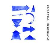 blue hand painted brush stroke... | Shutterstock . vector #446114785
