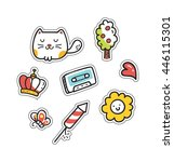 set of cute patch isolated on... | Shutterstock .eps vector #446115301