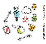 set of cute patch isolated on... | Shutterstock .eps vector #446115349