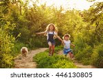 little sisters and pet. girls... | Shutterstock . vector #446130805