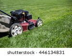 mowing the lawn outdoors with... | Shutterstock . vector #446134831