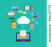 connecting to cloud computing... | Shutterstock .eps vector #446137774