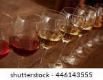 many glasses of different wine... | Shutterstock . vector #446143555