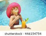 little girl with fresh ... | Shutterstock . vector #446154754