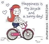 happy young girl ridding a... | Shutterstock .eps vector #446155144