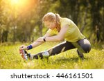 exercise woman stretching... | Shutterstock . vector #446161501
