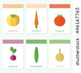 set of cards with vegetables on ... | Shutterstock . vector #446167765