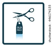 scissors cut old price tag icon.... | Shutterstock .eps vector #446174155