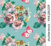 peonies roses wild flowers... | Shutterstock . vector #446186209