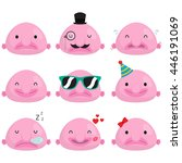cute happy and sad blob fish set | Shutterstock .eps vector #446191069