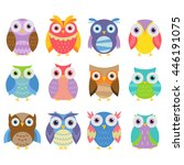 colorful and cute owl... | Shutterstock .eps vector #446191075