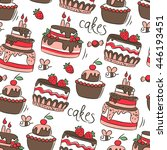 hand drawn cakes. seamless... | Shutterstock .eps vector #446193451