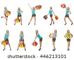 woman with shopping bags... | Shutterstock . vector #446213101
