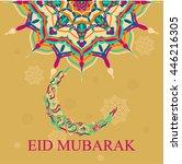 eid mubarak greeting card.... | Shutterstock .eps vector #446216305