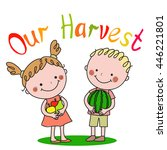 boy and girl holding fruit and... | Shutterstock .eps vector #446221801
