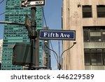 new york  jun 2016  street sign ... | Shutterstock . vector #446229589