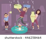 family dealing with a water... | Shutterstock .eps vector #446258464