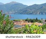 Menaggio town against famous Italian lake Como - stock photo