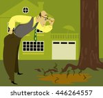 concerned man looking at a... | Shutterstock .eps vector #446264557