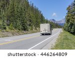 motorhome traveling on a road... | Shutterstock . vector #446264809