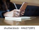 young woman wearing smartwatch... | Shutterstock . vector #446272891