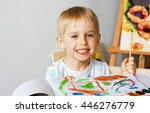 happy cheerful child paint with ... | Shutterstock . vector #446276779