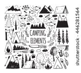 set of hand drawn elements for... | Shutterstock .eps vector #446281564