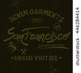 vintage label with san... | Shutterstock .eps vector #446284414