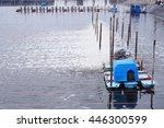 Small photo of soft focus paddle wheel aerator,aerator turbine in shrimp pond.