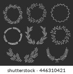 hand drawn set of wreaths and...