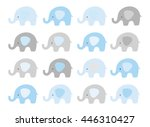 Stock vector cute elephant vector set vector elephants with patterned ears blue and gray 446310427