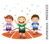vector illustration of boys on... | Shutterstock .eps vector #446316121