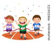 vector illustration of boys on... | Shutterstock .eps vector #446316121