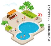 summer fun at pool. child with... | Shutterstock .eps vector #446321575
