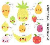 cute set with cartoon mango ... | Shutterstock .eps vector #446322805