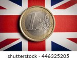 1 euro coin on top of british... | Shutterstock . vector #446325205