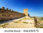 Genoese fortress in the resort town of Sudak, Crimean Peninsula, Black sea
